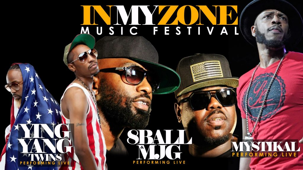 In My Zone Musical Festival Image. Event date: 11/27/2019. Featuring The Ying yang Twin, Mystikal, 8 Ball & MJG